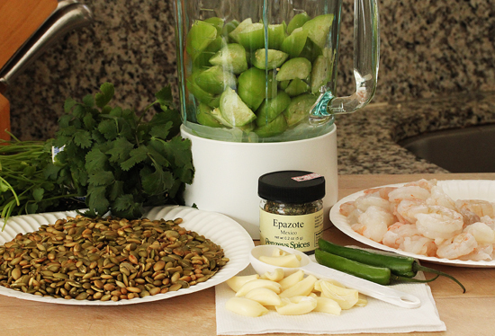 Shrimp Veracruz with Green Olives, Currents & Capers and Tortillas with Pumpkin Seed Tomatillo Sauce 2