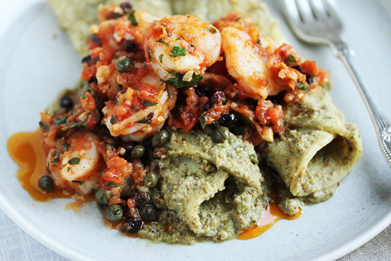 Shrimp Veracruz with Green Olives, Currents & Capers and Tortillas with Pumpkin Seed Tomatillo Sauce 5