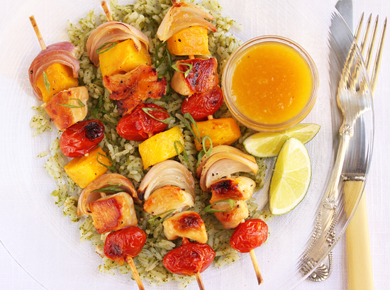 Post image for Mango & Chicken Kabobs with Mango Ginger Dipping Sauce and Green Tomatillo Rice