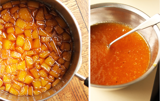 The chopped mango is cooked in sugar and red wine vinegar to make a pureed glaze