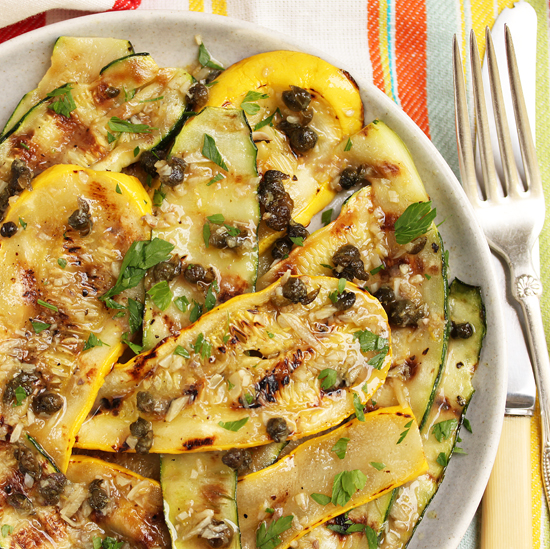 Post image for Grilled Zucchini & Anchovy Garlic Caper Sauce