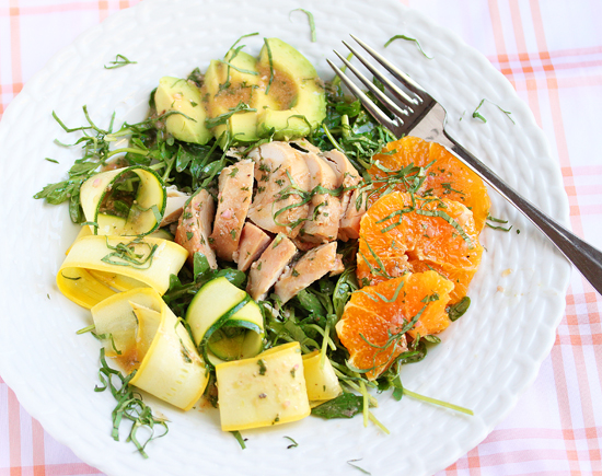 Post image for Sliced Chicken Salad with Zucchini Ribbons, Avocado, Oranges and Dijon Vinaigrette