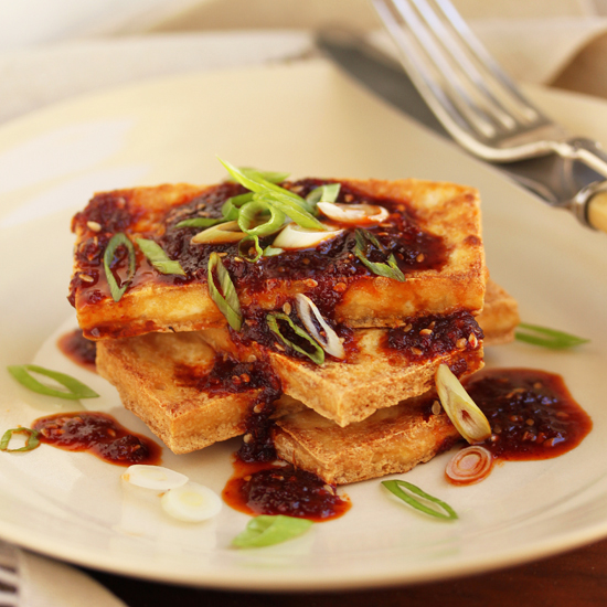 Post image for Fried Tofu and Spicy Korean Red Pepper Sauce with Gochugaru, Ginger and Sesame