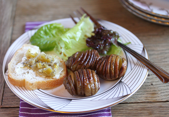 Tiny Truffled Hasselback Potatoes & Melted Leeks with Ricotta and Truffles