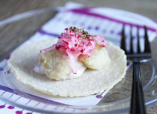 Truffled Pacific Rockfish Tacos with Radish Slaw