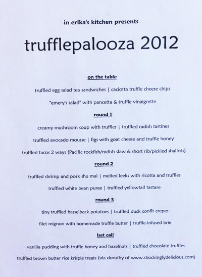 Trufflepalooza 2012 Menu