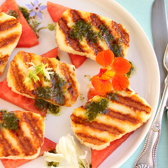 Post image for Grilled Halloumi Cheese & Watermelon Salad with Edible Flowers & Basil-Mint Sauce