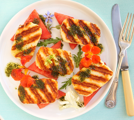 Grilled Halloumi  & Watermelon Salad with Edible Flowers & Basil Mint Sauce 3
