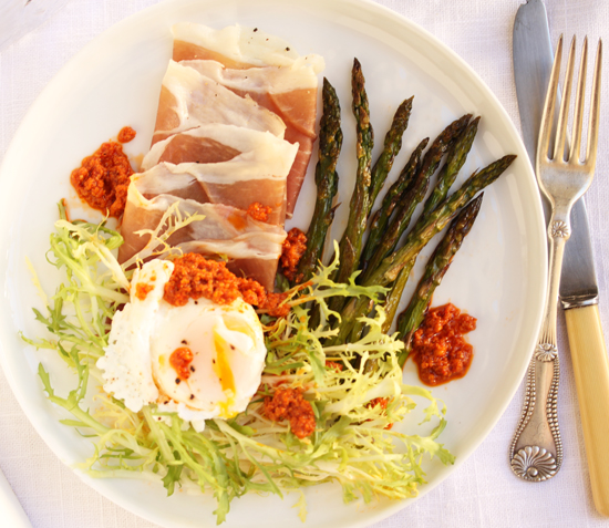 Poached Egg, Prosciutto, Roasted Asparagus & Frisée Salad with Romesco Sauce 4