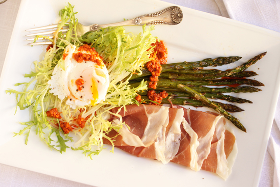 Poached Egg, Prosciutto, Roasted Asparagus & Frisée Salad with Romesco Sauce 5