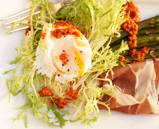 Poached Egg, Prosciutto, Roasted Asparagus & Frisée Salad with Romesco Sauce 2