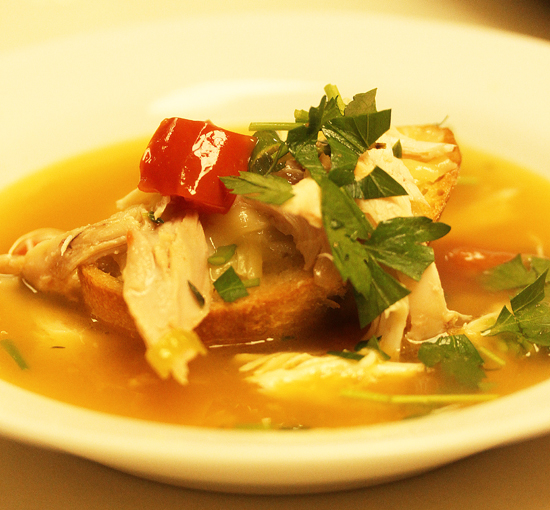 Simply Made Chicken Soup with Comte Cheese Crouton