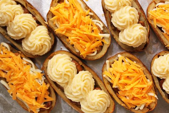 Mushroom Stuffed Duchesse Potato Skins 4