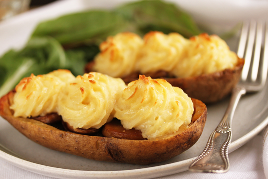 Mushroon Stuffed Duchesse Potato Skins