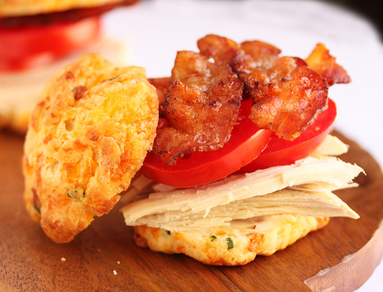 Post image for Turkey Bacon Tomato on Cheddar Biscuits