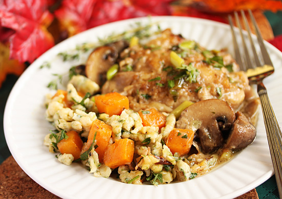 Post image for Spinach Spaetzle & Butternut Squash Casserole From Grace-Marie's Kitchen at Bristol Farms