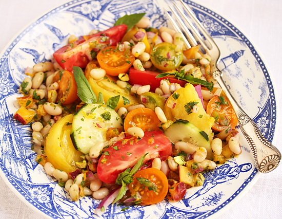 Flageolet, Nectarine & Tomato Salad with Lime, Ginger & Pistachios 4