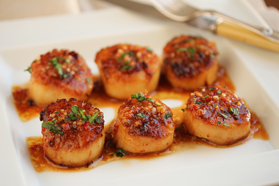 Post image for Grilled Scallops with Red Yuzu Kosho Vinaigrette