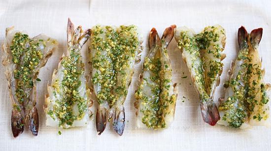 Spicy Grilled shrimp with Green Yuzu Kosho Pesto 3