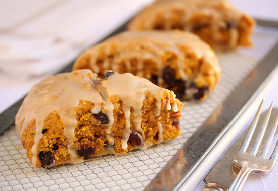 Post image for Pumpkin Cranberry Scones with Maple Glaze