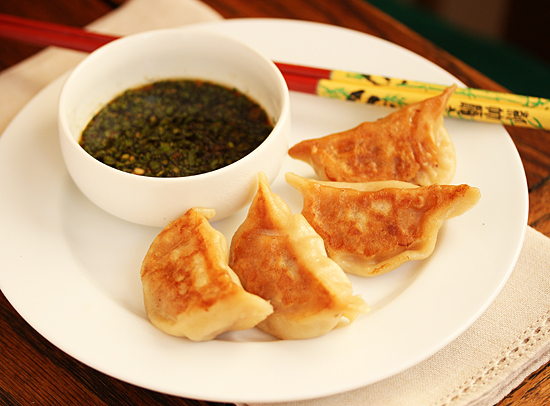 Pork Pot-Sticker Dumplings with Lemon Soy Ginger Sauce 8