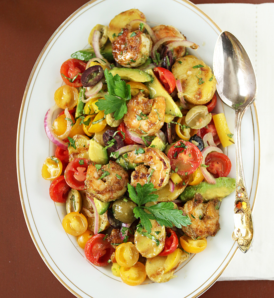 Post image for Grilled Shrimp & Potato Tomato Avocado Salad