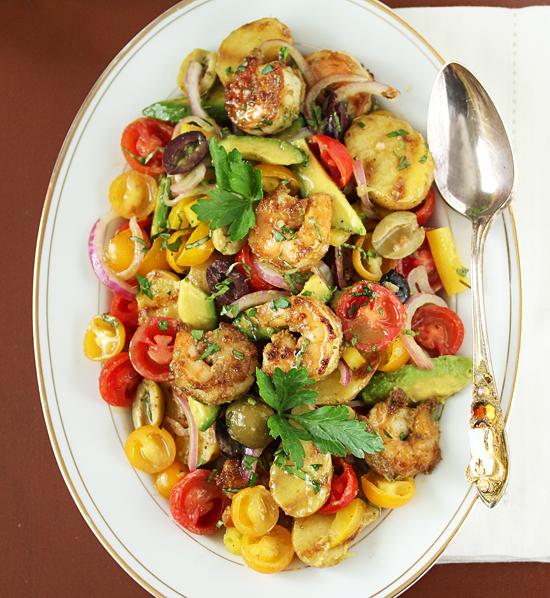 Grilled Shrimp Salad and Potato Tomato Avocado Salad 1