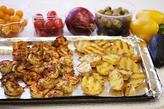 Grilled Shrimp Salad and Potato Tomato Avocado Salad 3