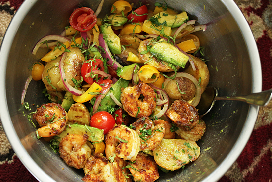 Grilled Shrimp Salad and Potato Tomato Avocado Salad 4