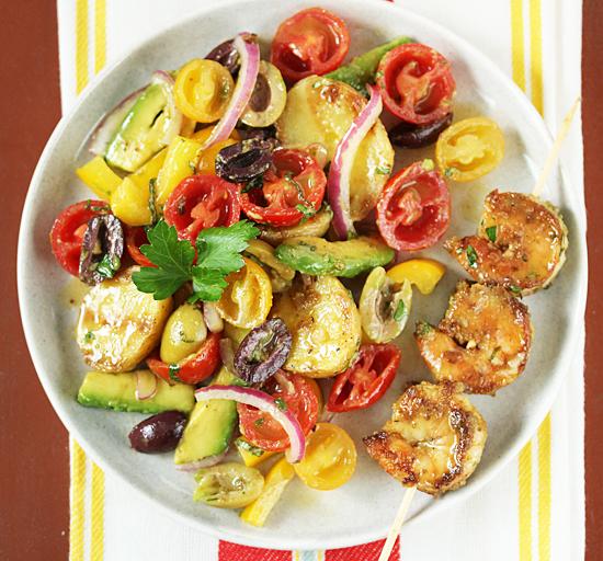 Grilled Shrimp Salad and Potato Tomato Avocado Salad 5