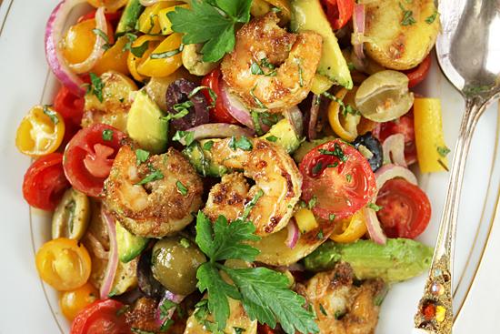 Grilled Shrimp Salad and Potato Tomato Avocado Salad 6