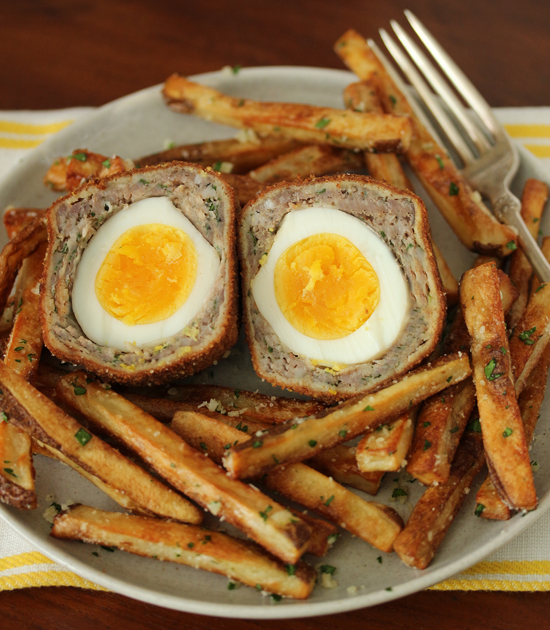 Scotch Eggs with Garlic Butter Parmesan Fries 6