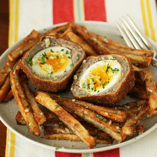 Post image for Scotch Eggs with Garlic Butter Parmesan Fries