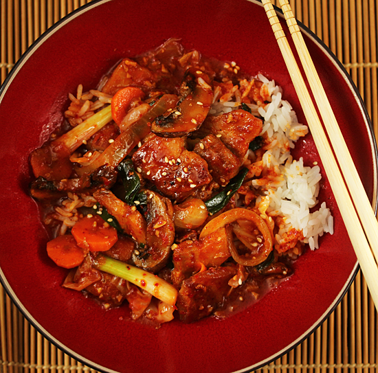 Korean Dak Galbi Chicken Stir Fry In Spicy Red Pepper Sauce With Gochugaru And Gochujang
