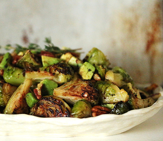 Post image for Roasted Brussels Sprouts with Avocado & Pecans