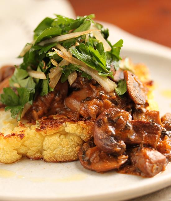 Cauliflower Steak with Mushroom Ragout & Hee Hee