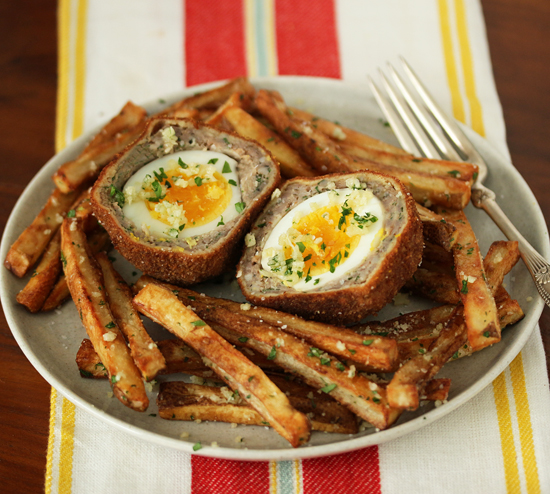 Scotch Eggs with Garlic Butter Parmesan Fries