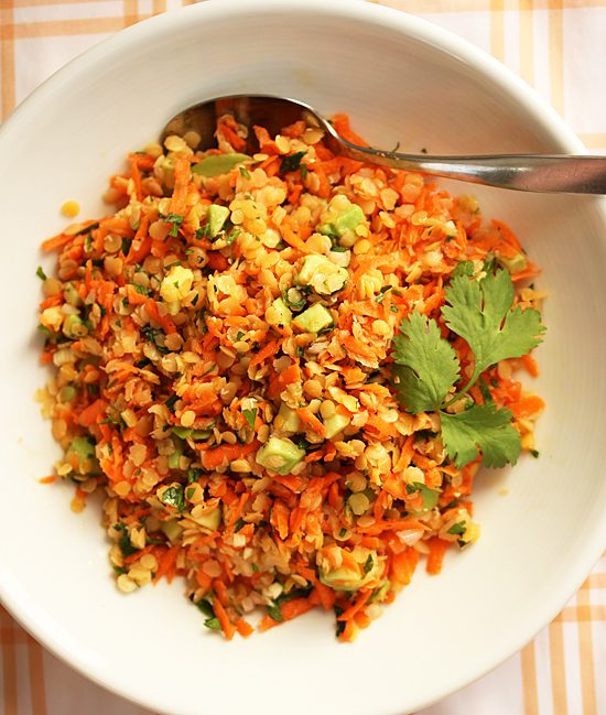 Post image for Red Lentil, Carrot & Avocado Salad