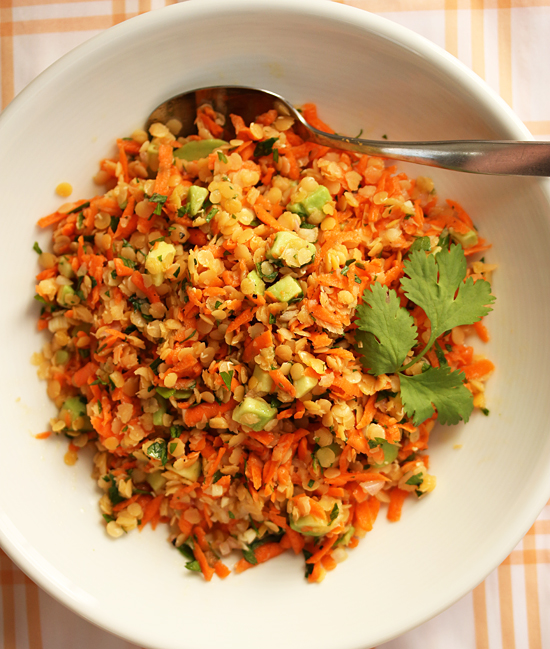Red Lentil Carrot Avocado Salad