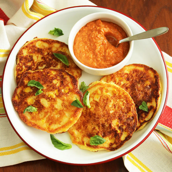 Post image for Corn Pancakes with Almond Red Pepper Romesco