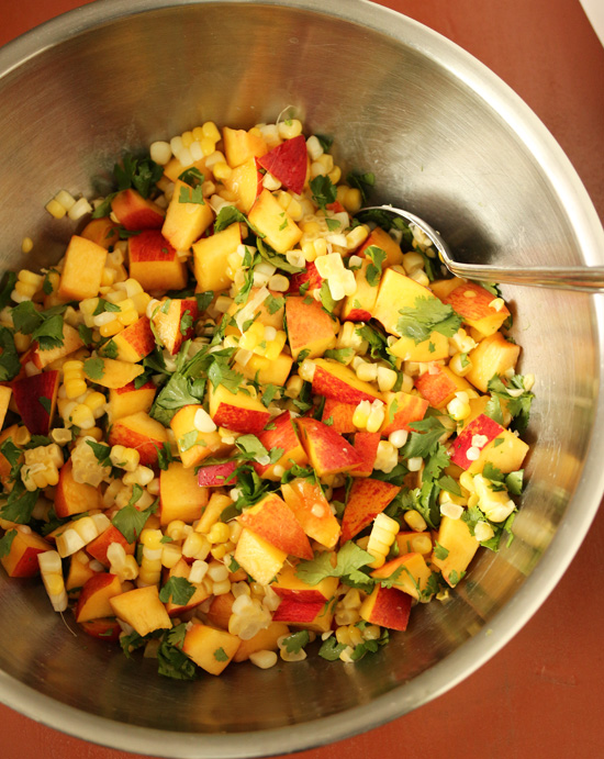 Nectarine & Corn Salad with Lime Ginger Cilantro Vinaigrette 2
