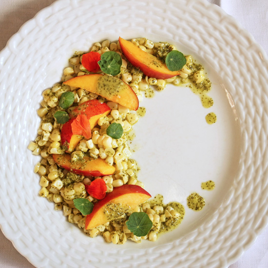 Post image for Nectarine & Corn Salad with Lime Ginger Cilantro Vinaigrette