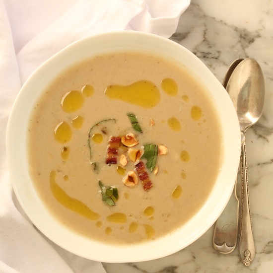 Jerusalem Artichoke Soup with Bacon & Hazelnuts