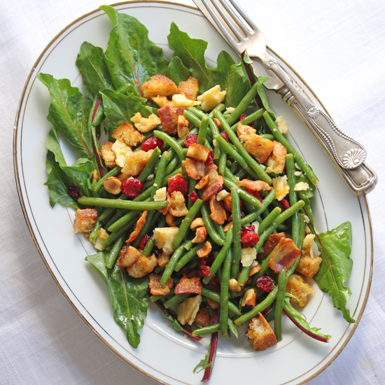 Post image for Haricot Vert & Dandelion Salad with Bacon & Dried Cranberries and A Spunky Pomegranate Molasses Vinaigrette