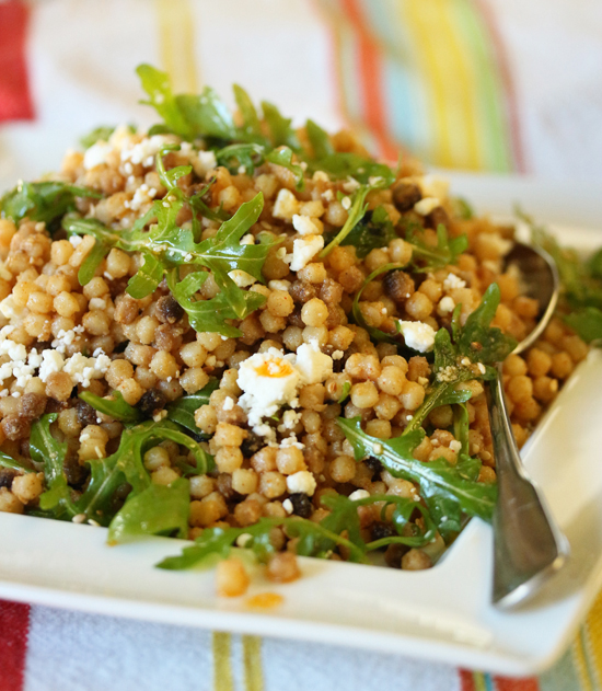 Post image for Fregola with Feta & Arugula and Sesame Sauce